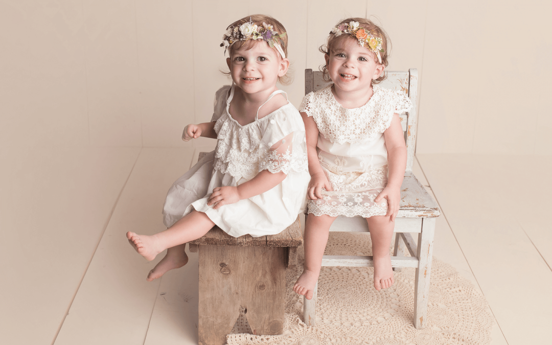 Scarlett and Rayne | 2-Year Portraits | Omaha, NE Twin Photographer